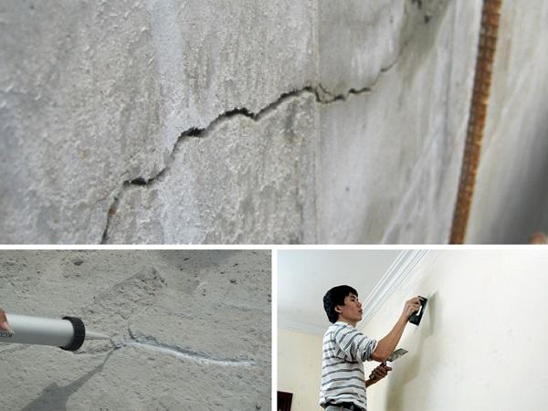 trám lại vết nứt tường